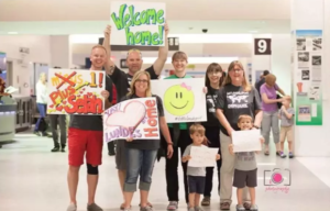 American family at airport to meet Selah, daughter adopted from China