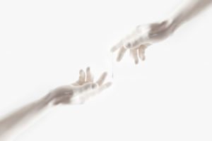 woman and man reaching out with hands isolated on white background