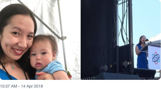 Leana Wen with son Eli and speaking at Science March