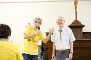 Mr. Ikeda Masaaki introducing Pastor Kenzo to share at Tsukiji Catholic church before the Japan March for Life 2019